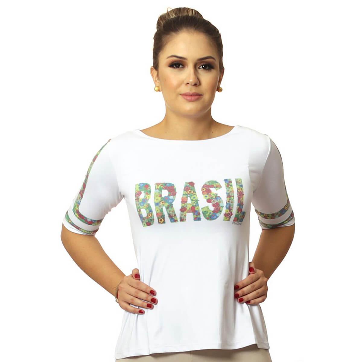 Blusa Feminina Meia Manga com Proteção Solar UV Estampa Exclusiva Copa do Mundo Brasil 10 Evasê