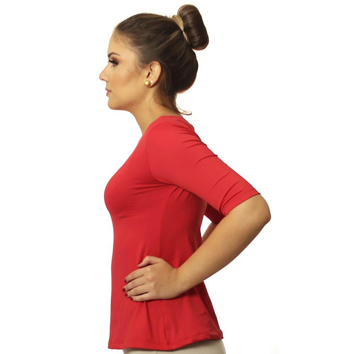 Blusa Feminina Meia Manga Vermelha com Proteção UVA UVB Decote Canoa Evasê