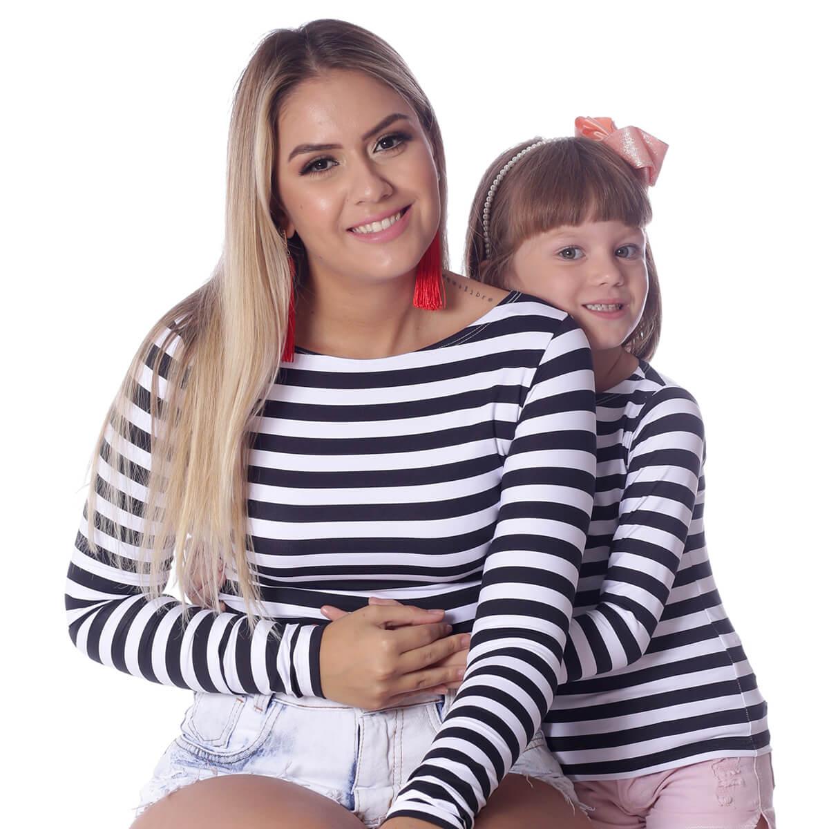 Blusa Infantil com Proteção UV Branca de Listras Finas Pretas Manga Longa Decote Canoa