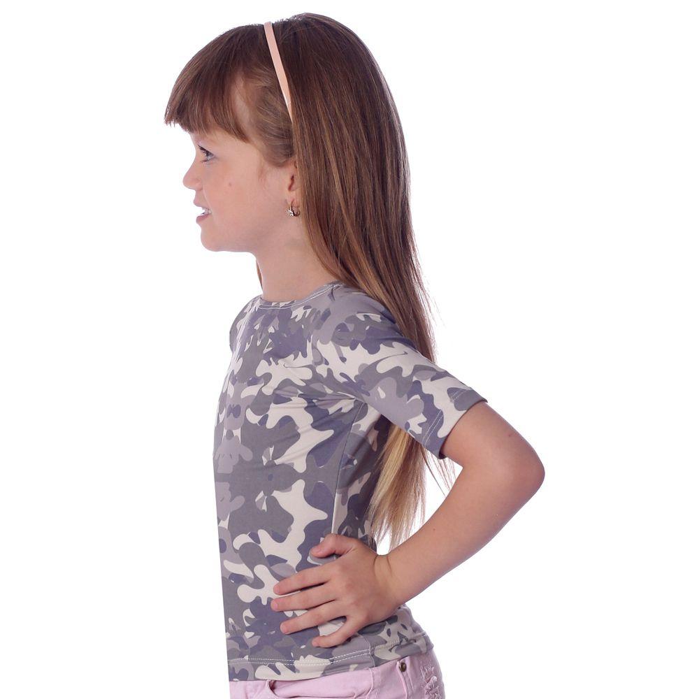Blusa Infantil com Proteção UV Feminina Meia Manga Estampa Militar Exclusiva Decote Canoa