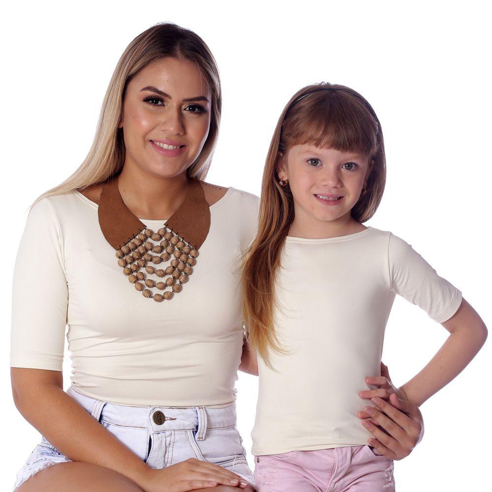 Blusa Infantil com Proteção UV Palha Feminina Manga Curta Decote Canoa
