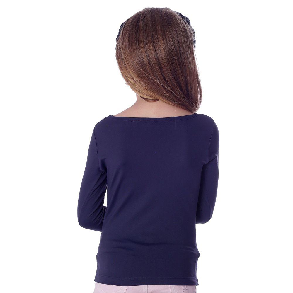 Blusa Infantil Feminina com Proteção UV Azul Marinho Manga Longa Decote Canoa