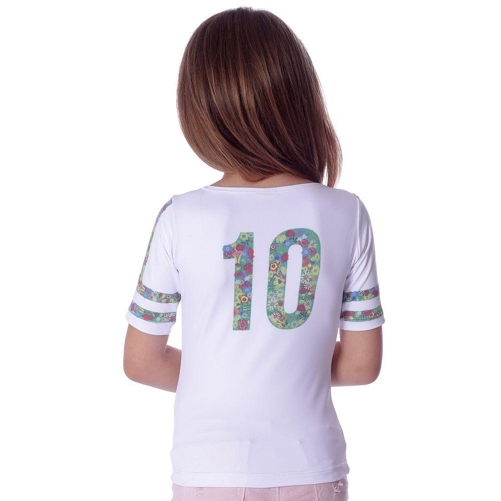 Blusa Infantil Meia Manga com Proteção UV Estampa Exclusiva Copa do Mundo Brasil 10
