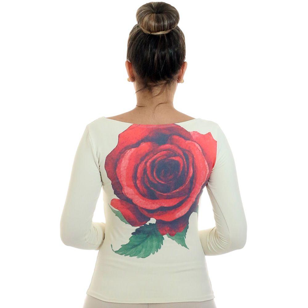 Blusa com Proteção Solar UV Feminina Estampa com Rosa Vermelha Exclusiva Decote Canoa