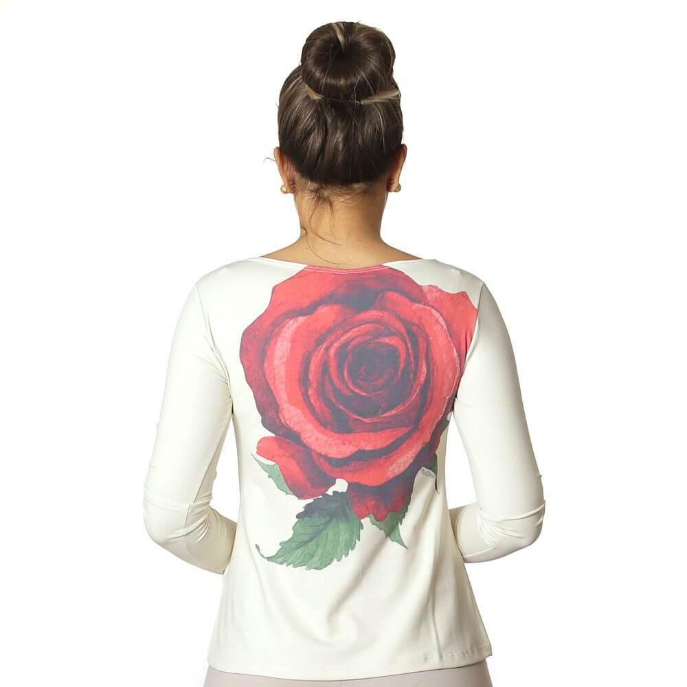 Blusa com Proteção Solar UV Feminina Estampa com Rosa Vermelha Exclusiva Decote Canoa Evasê