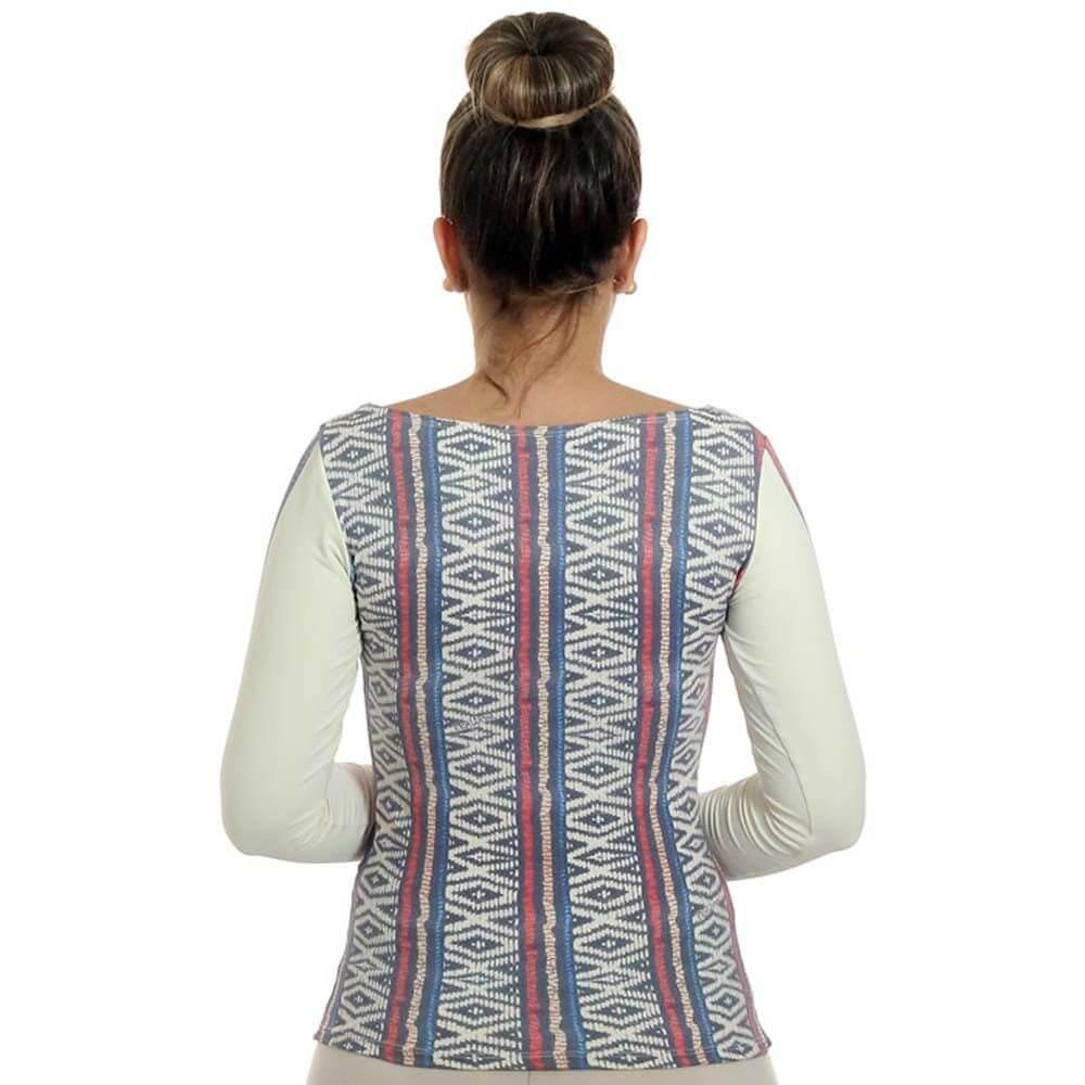 Blusa com Proteção Solar UV Feminina Estampa Étnica Tribal Exclusiva Decote Canoa
