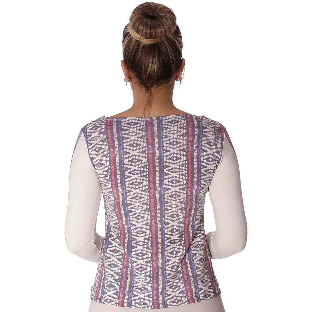 Blusa com Proteção Solar UV Feminina Estampa Étnica Tribal Exclusiva Decote Canoa Evasê