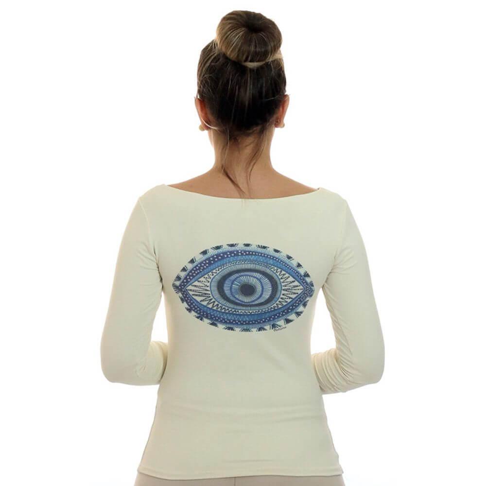 Blusa com Proteção Solar UV Feminina Estampa Exclusiva Olho Grego Decote Canoa