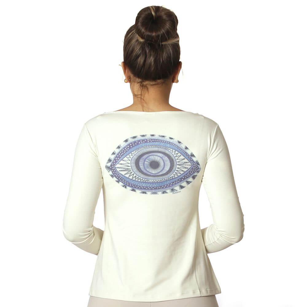 Blusa com Proteção Solar UV Feminina Estampa Exclusiva Olho Grego Decote Canoa Evasê