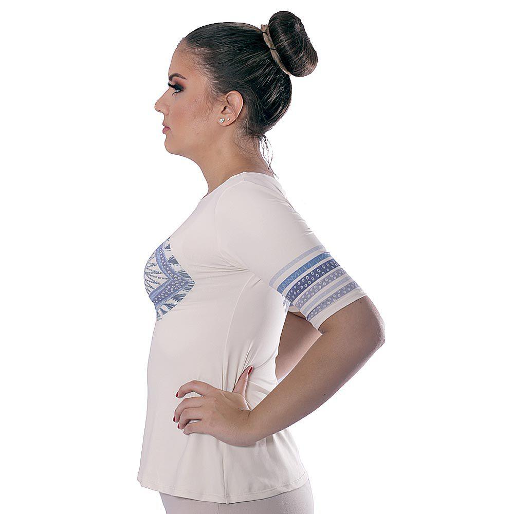 Blusa com Proteção Solar UV Feminina Manga Curta Estampa Exclusiva Olho Grego Decote Canoa Evasê