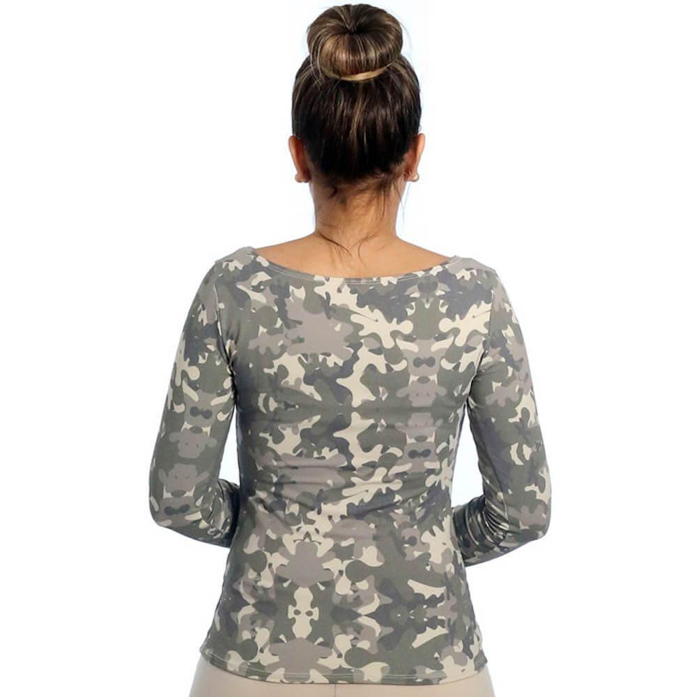 Blusa com Proteção UV Feminina Manga Longa  Estampa Camuflada Exclusiva Decote Canoa