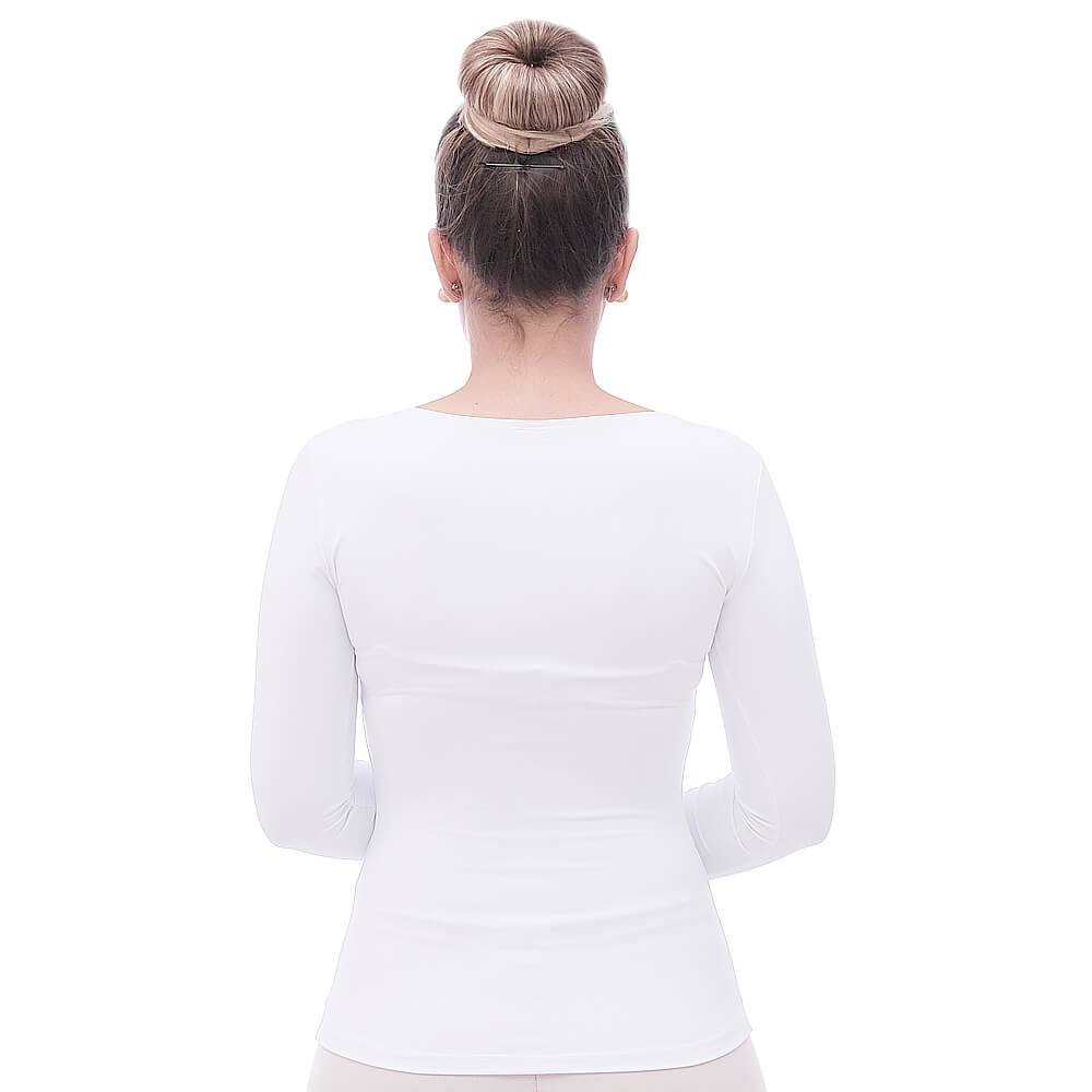 Blusa de Manga Comprida Feminina Branca Decote Redondo com Renda Guipir Branca