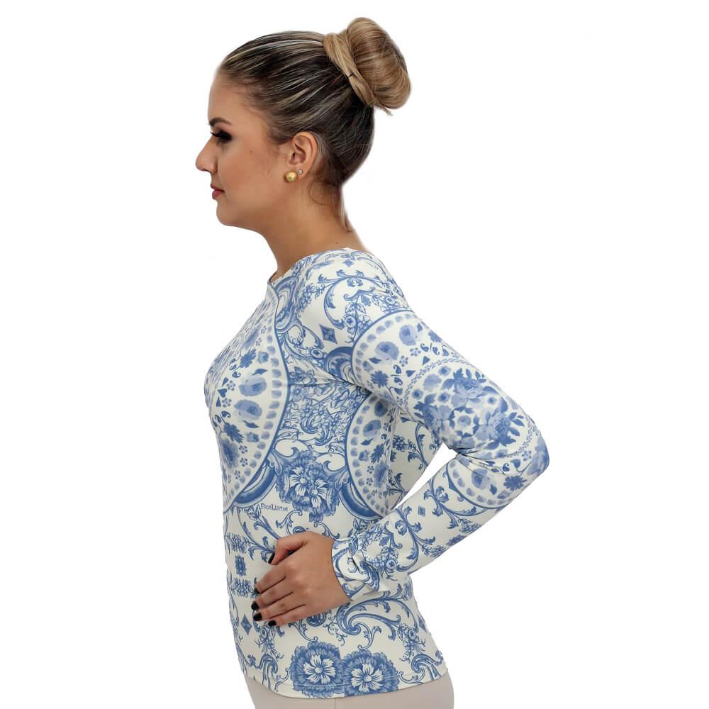Blusa Feminina com Proteção Solar UV Azulejo Português Azul