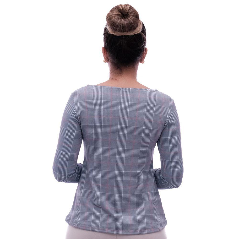Blusa Feminina com Proteção Solar UV Estampa Exclusiva Príncipe de Gales Decote Canoa Evasê