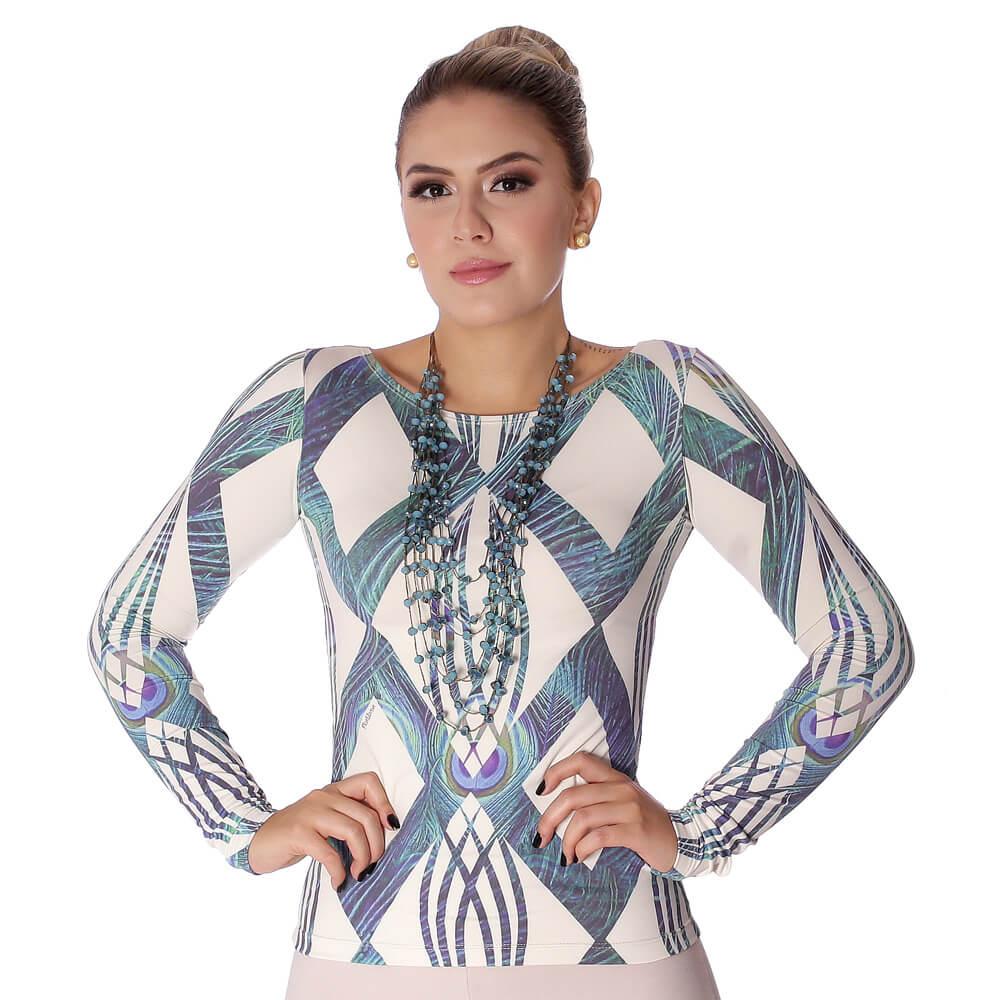 Blusa Feminina com Proteção Solar UV Estampa Geométrica Exclusiva Azul com Penas de Pavão Decote Canoa