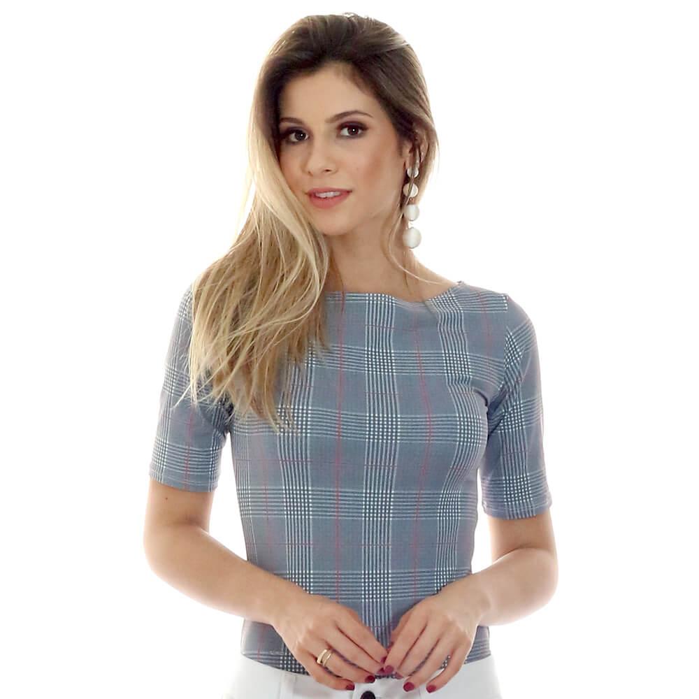 Blusa Feminina com Proteção Solar UV Manga Curta Estampa Exclusiva Príncipe de Gales Decote Canoa