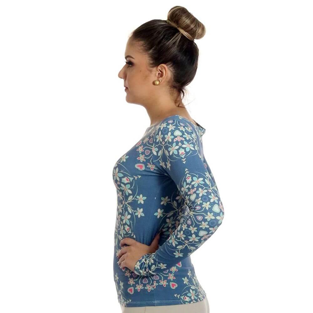 Blusa Feminina com Proteção Solar UV Manga Longa Estampa Exclusiva Heart Mandala Azul Decote Canoa