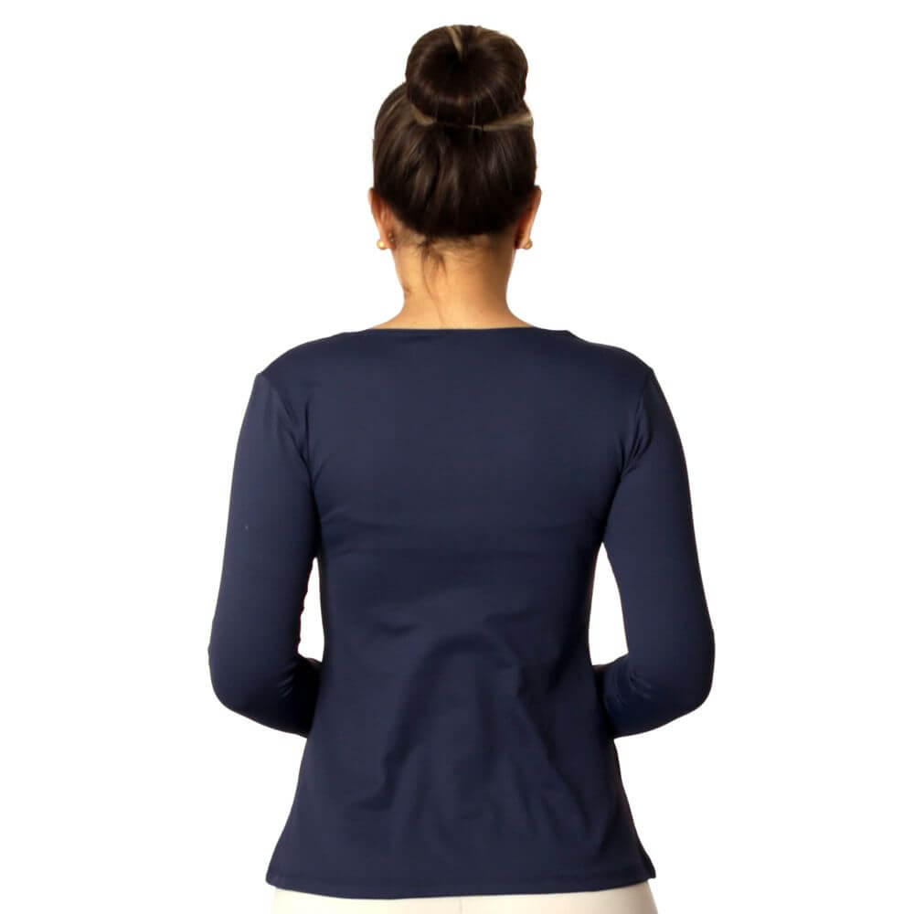 Blusa Feminina Manga Longa Azul Marinho Decote Redondo  Evasê
