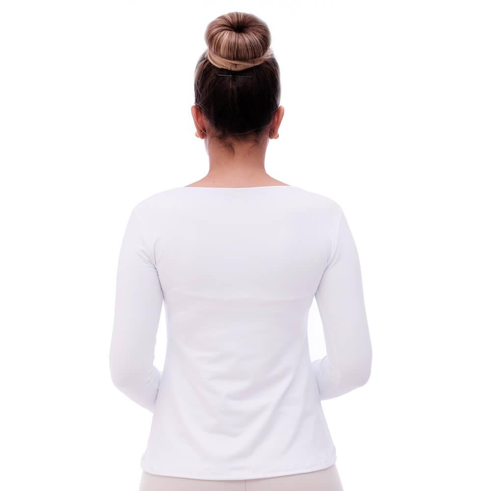 Blusa Feminina Manga Longa Branca Decote Redondo Evasê com Renda Guipir Branca