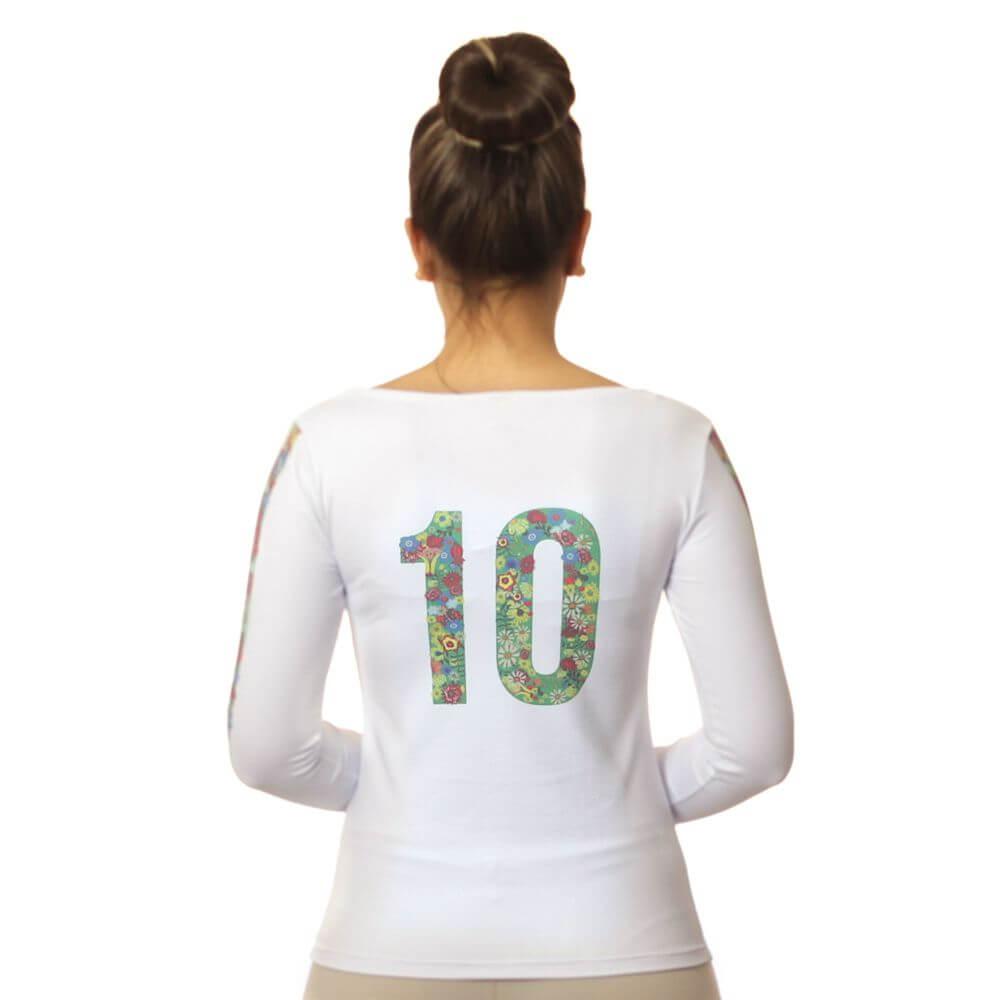 Blusa Feminina Manga Longa com Proteção Solar UV e Estampa Exclusiva Brasil 10 Copa do Mundo