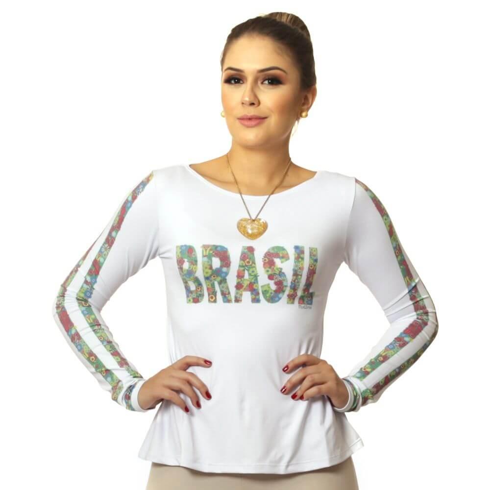 Blusa Feminina Manga Longa com Proteção Solar UV e Estampa Exclusiva Brasil 10 Copa do Mundo Evasê