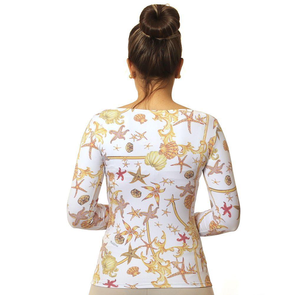 Blusa Feminina Manga Longa com Proteção Solar UV e Estampa Exclusiva Estrela do Mar