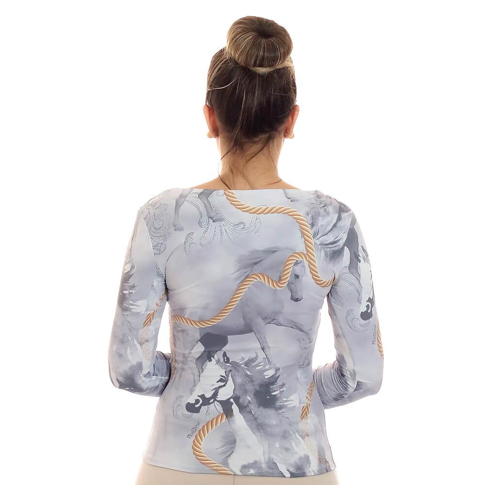 Blusa Feminina Manga Longa Estampa Exclusiva Selaria com Desenho de Cavalo Decote Redondo