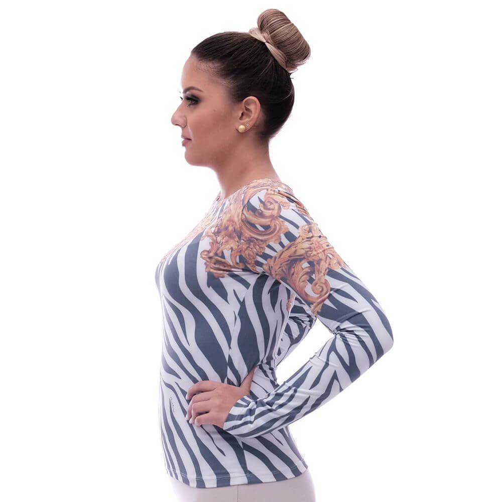Blusa Feminina Manga Longa Estampa Exclusiva Zebra Barroco Decote Canoa