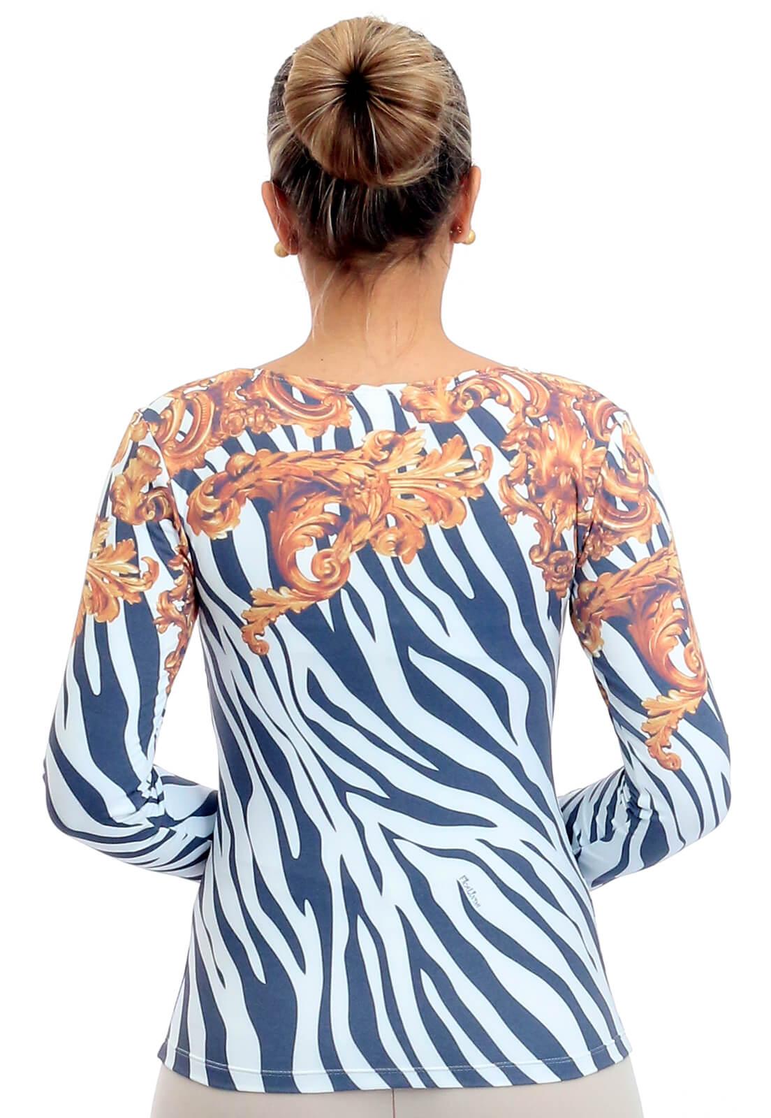 Blusa Feminina Manga Longa Estampa Exclusiva Zebra Barroco Decote Redondo