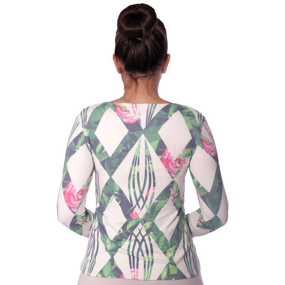 Blusa Feminina Manga Longa Estampa Geométrica Exclusiva Verde com Flores Decote Redondo Evasê