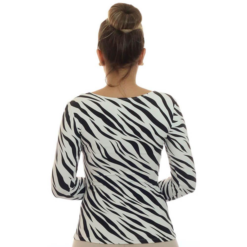 Blusa Feminina Manga Longa Estampa Zebra Decote Redondo