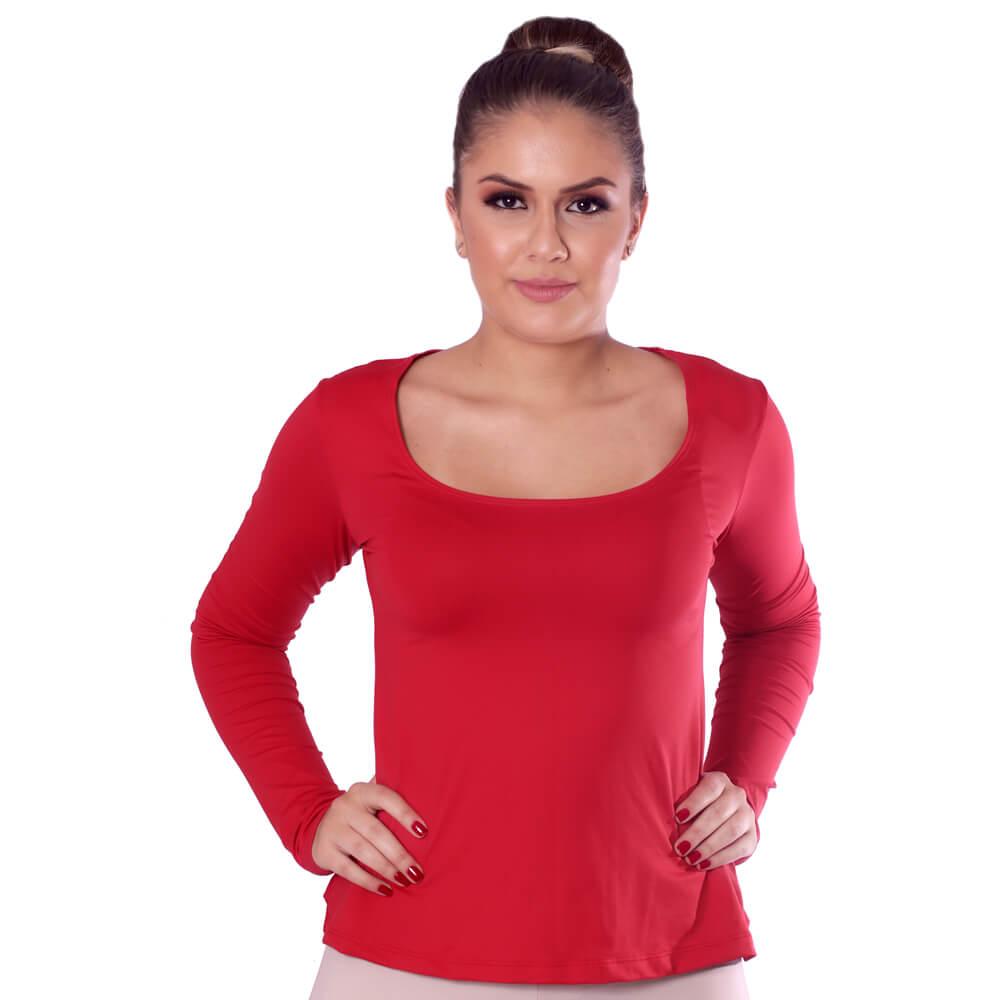 Blusa Feminina Manga Longa Vermelha Decote Redondo Evasê