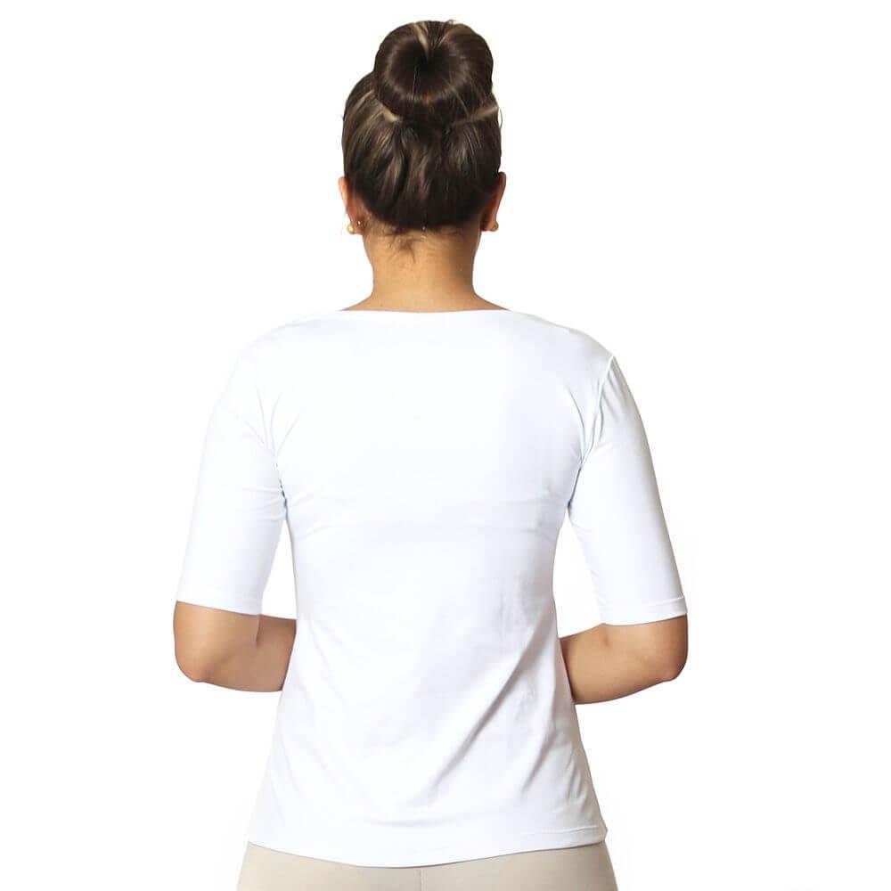 Blusa Feminina Meia Manga Branca Decote Redondo Evasê
