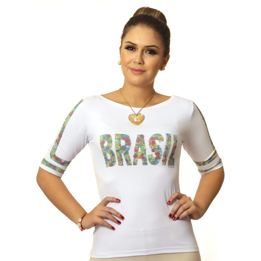 Blusa Feminina Meia Manga com Proteção Solar UV Estampa Exclusiva Copa do Mundo Brasil 10
