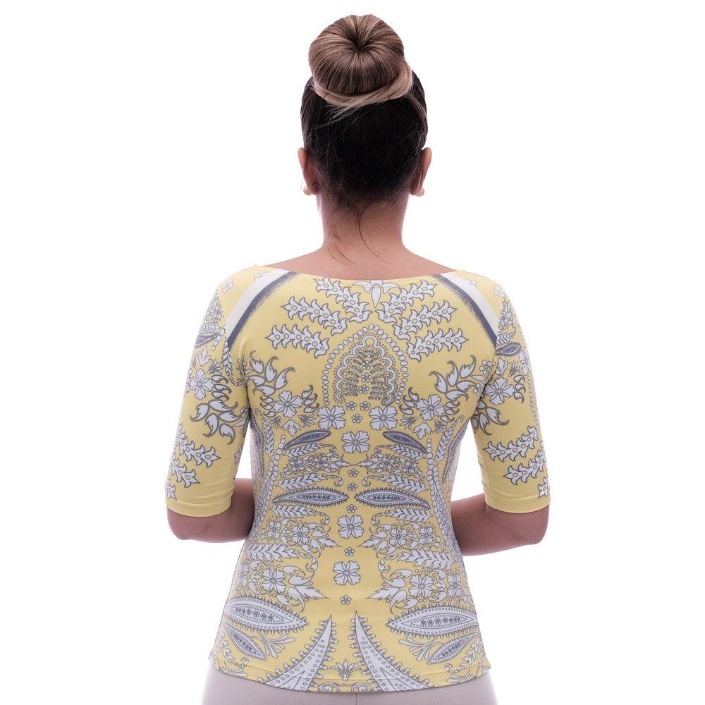 Blusa Feminina Meia Manga com Proteção Solar UV Fashion Estampa Exclusiva Bohemian Etro Amarela Decote Canoa