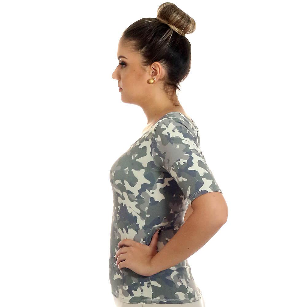 Blusa Feminina Meia Manga Estampa Militar Camuflada Exclusiva Decote Redondo