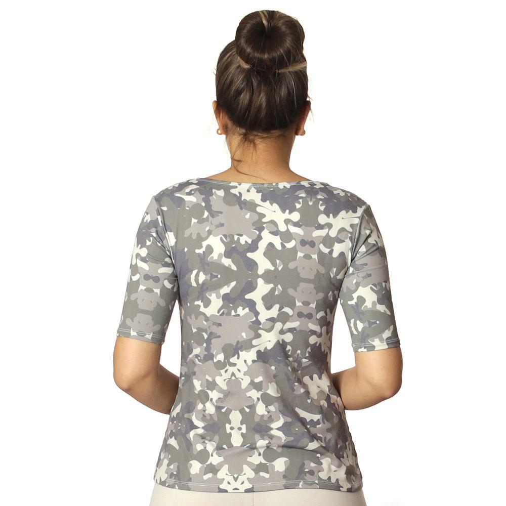 Blusa Feminina Meia Manga Estampa Militar Camuflada Exclusiva Decote Redondo Evasê