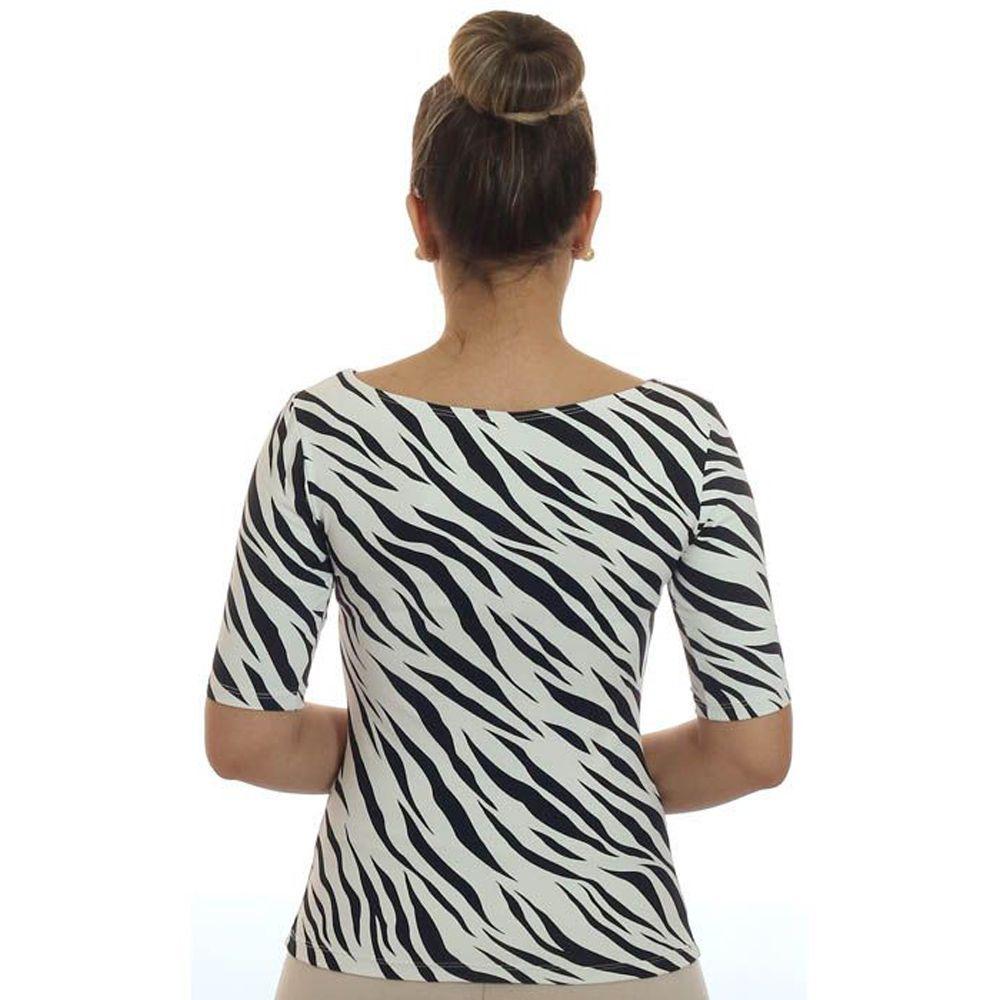 Blusa Feminina Meia Manga Estampa Zebra Decote Canoa