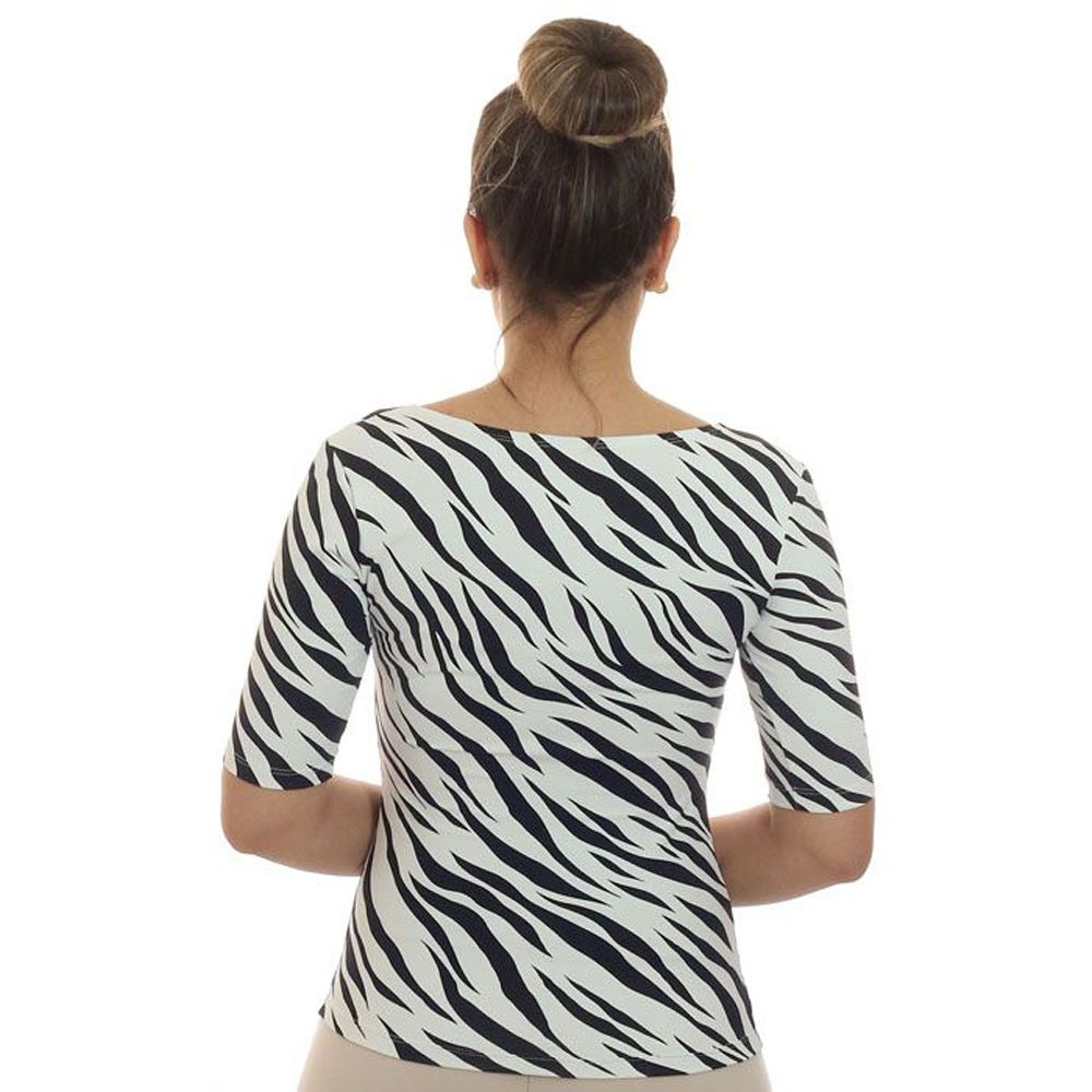 Blusa Feminina Meia Manga Estampa Zebra Decote Redondo