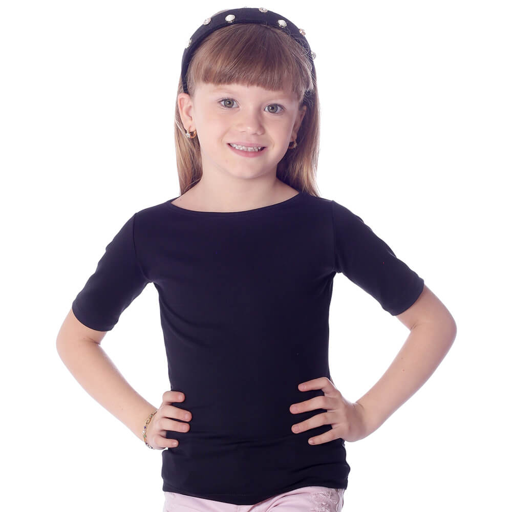 Blusa Infantil Feminina com Proteção Solar Preta Manga Curta Decote Canoa