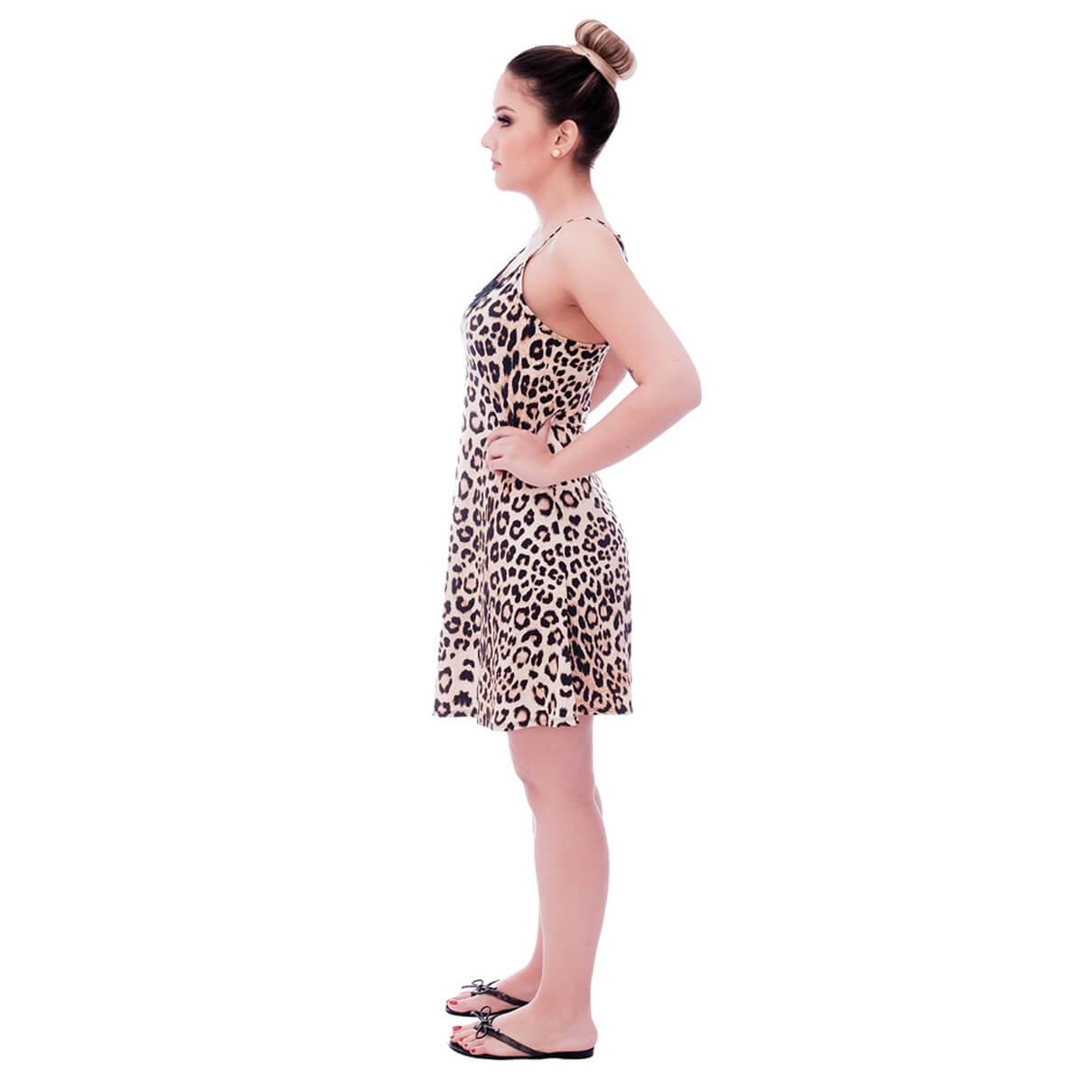 Camisola Feminina de Alça Fina Estampa Animal Print de Onça com Renda Guipir Preta no Decote