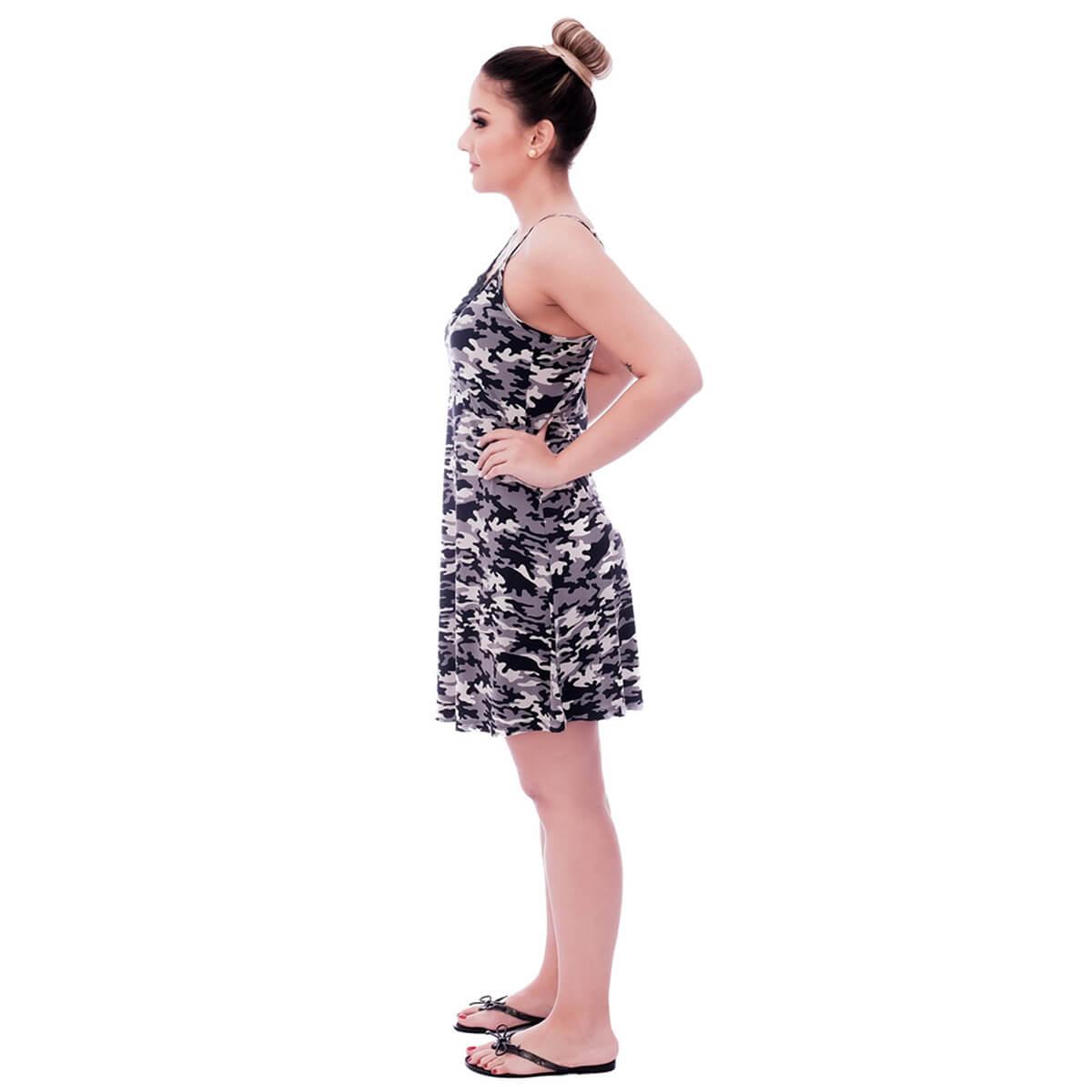 Camisola Feminina de Alça Fina Estampa Militar Camuflada com Renda Guipir Preta no Decote