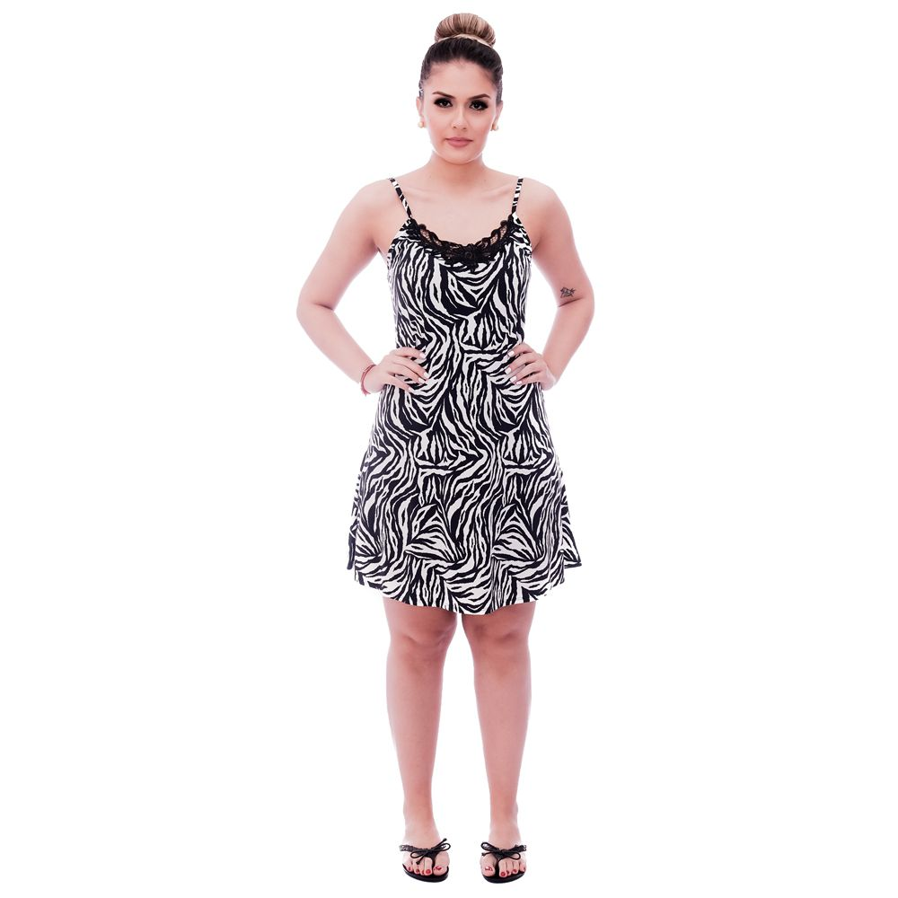 Camisola Feminina de Alça Fina Estampa Zebra com Renda Guipir Preta no Decote