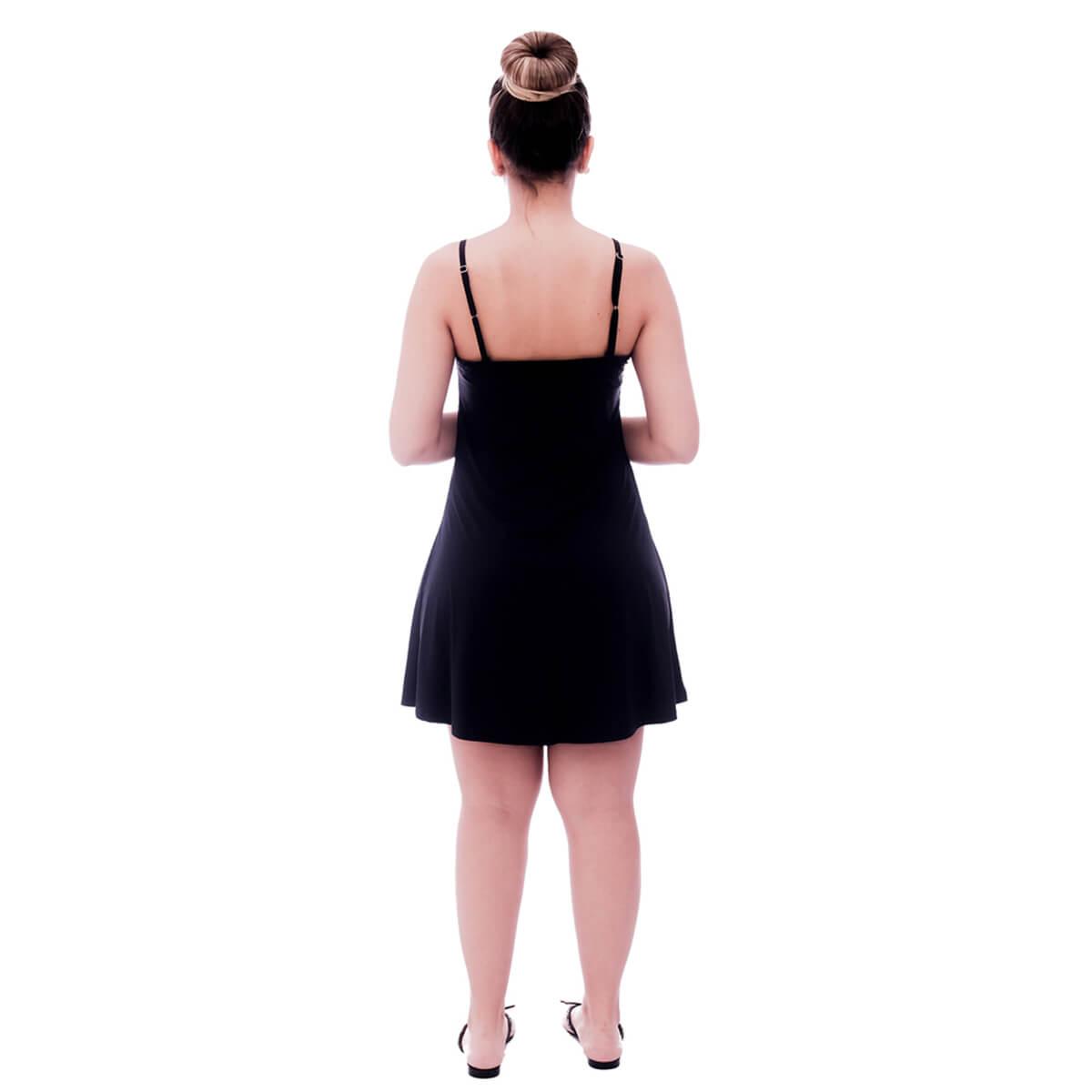 Camisola Feminina de Alça Fina Preta com Renda Guipir Branca no Decote