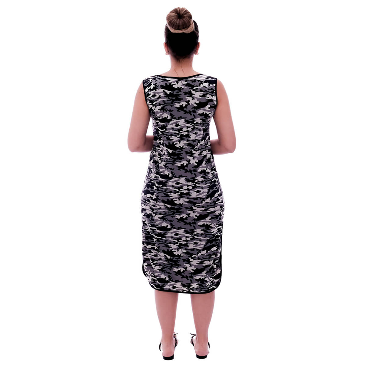 Camisola Feminina Longuete de Alça com Viés Preto em Estampa Militar Camuflada