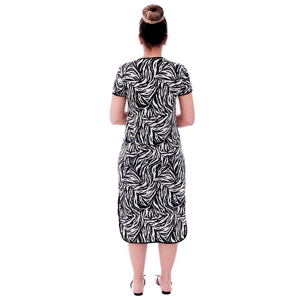 Camisola Feminina Midi Manga Curta 3 em 1 com Estampa Animal Print de Zebra e Viés Preto