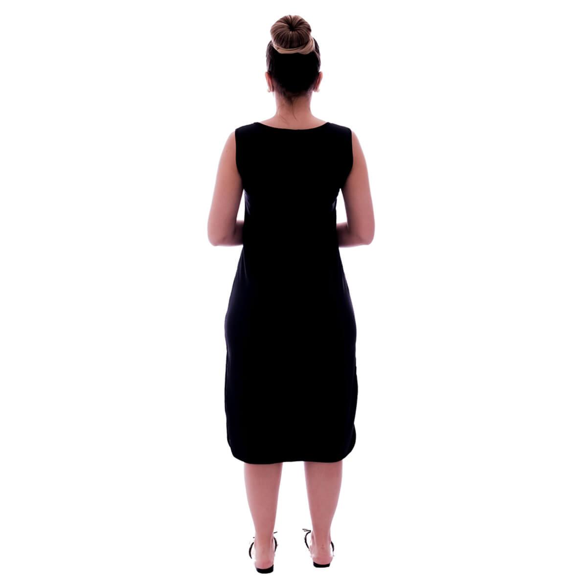Camisola Feminina Preta Longuete de Alça com Viés Preto