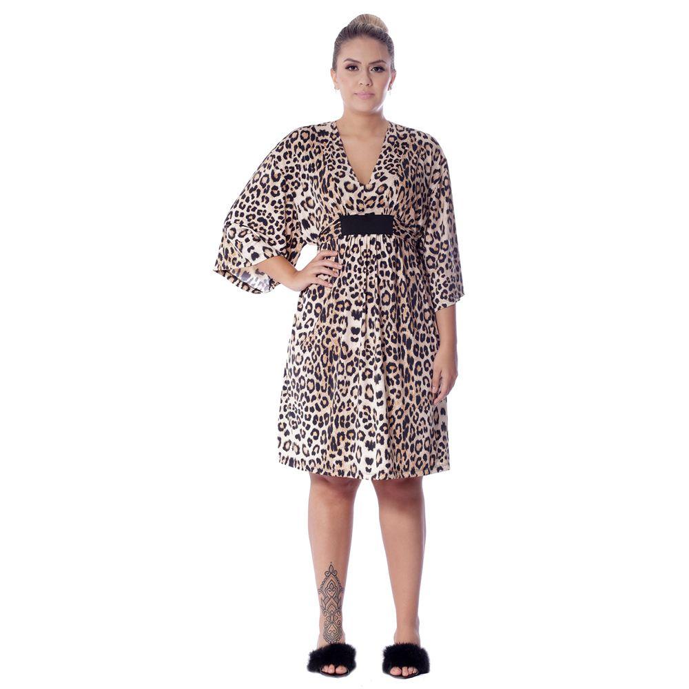 Camisola Tipo Kaftan com Proteção UV Estampa Animal Print Onça