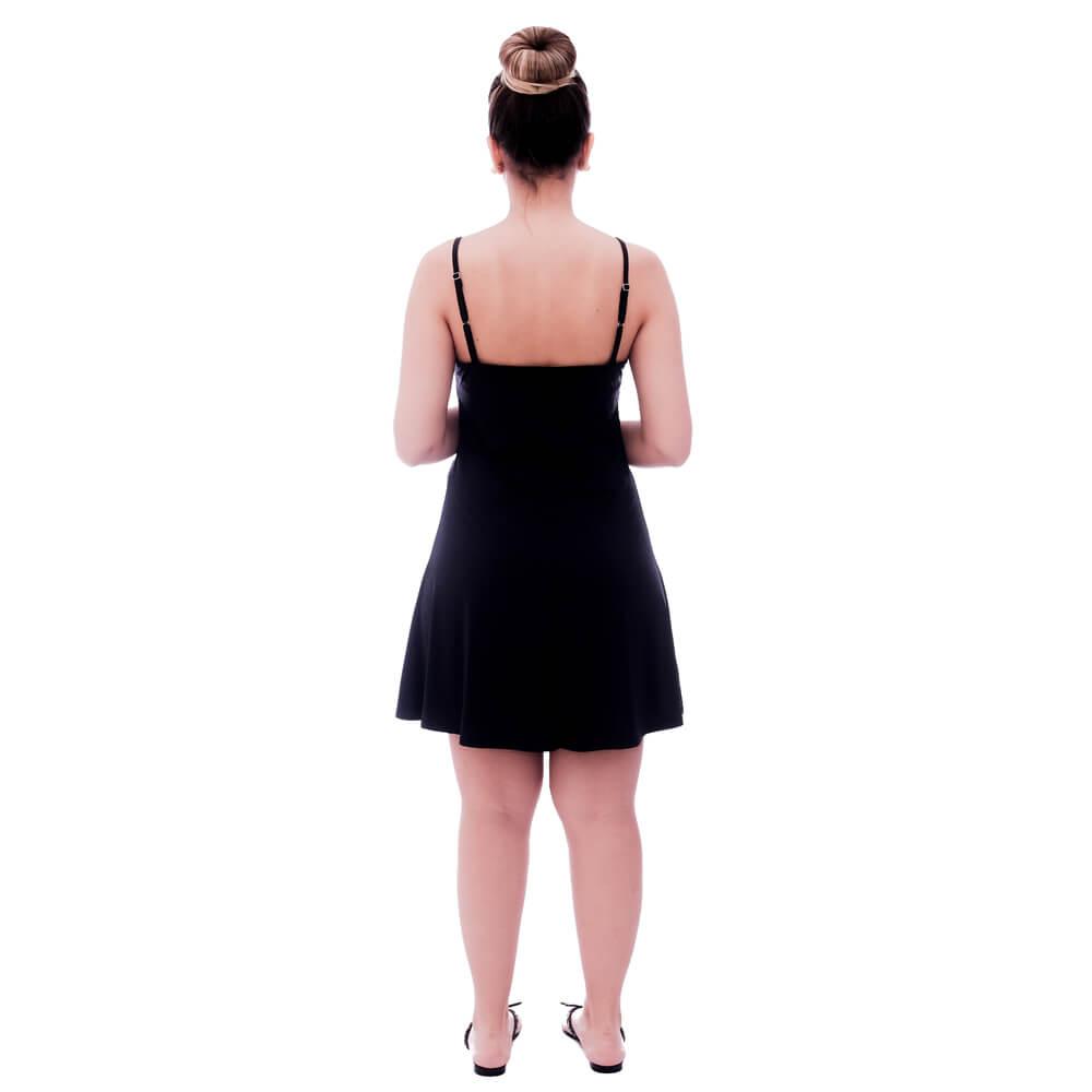 Camisola Feminina de Alça Fina Preta com Renda Guipir Preta no Decote