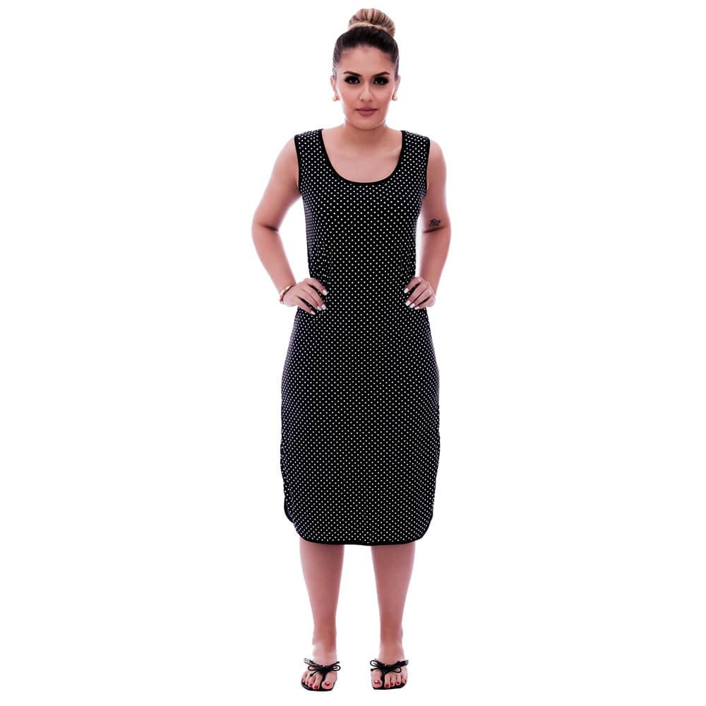 Camisola Feminina Longuete de Alça com Viés Preto e Estampa Poá Preto de Bolinhas Brancas
